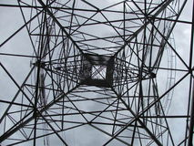 Power Pole. Looking up into a power pylon stock photography