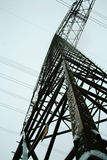 Power Pole. A photo of high voltage power lines in winter / germany Stock Photos