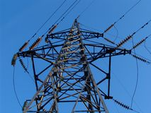 Power pole 2. A high voltage power line Stock Photo