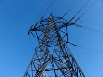 Power pole. An electricy transmission line Stock Photography