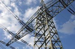 Power pole on background of blue sky Stock Photo