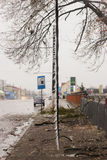 Power pole broken in street ice storm Royalty Free Stock Images