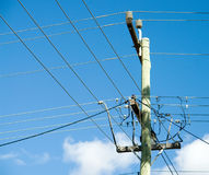 Power pole and cable Royalty Free Stock Image