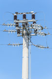 Power pole with external electric separator on top Stock Image