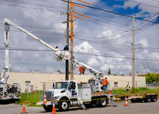 Power pole replacement work Royalty Free Stock Image