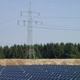 Power Pole, solar panels Royalty Free Stock Images