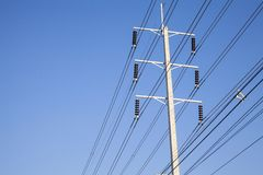 Electrical power poles in The electricity needed to power an el Stock Image