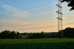 A power pole in the sunset. With trees on a field Stock Images