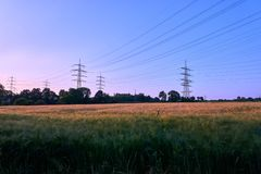 Power pole in a sunset royalty free stock images