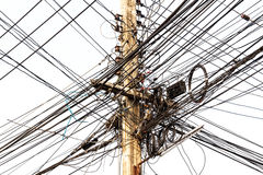Power pole tangle. Power pole with Tangle of Electrical wires Royalty Free Stock Image