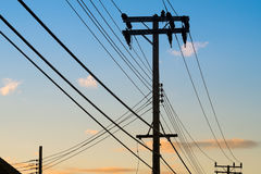 Power pole is a tool for delivering electricity to rural areas. Royalty Free Stock Image