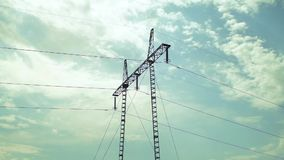 Power pole sky clouds passing time lapse 02 stock footage