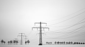 Power pole at winter Stock Photography