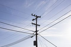 Power Pole and Wires Royalty Free Stock Photo