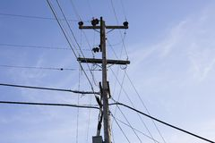 Power Pole and Wires Royalty Free Stock Photos