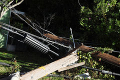 Power poles after auto crash Stock Photos