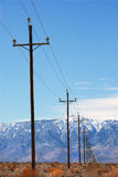 Power Poles Death Valley Stock Photo