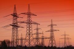 Power poles in the evening. Power poles near Schwandorf /Bavaria/Germany stock photo