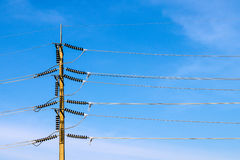 Power poles and High Voltage Cables Stock Photo