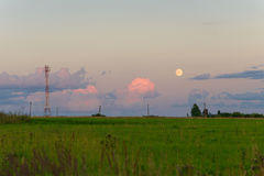 Power poles on the horizon in the evening Stock Photography