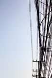 Power poles and many telephone lines. Royalty Free Stock Photos