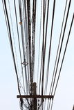 Power poles and many telephone lines. Stock Photography