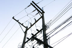 Power poles and power lines Stock Photo
