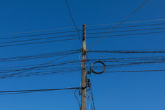 Power poles and power lines Royalty Free Stock Photo