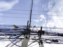 Power poles and power lines. Is Show turmoil, confusion royalty free stock images