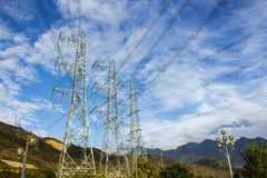 Power poles. The power poles should be blown up near the Son La hydropower plant in Vietnam. The largest hydropower project in Southeast Asia royalty free stock photo