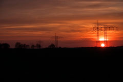 Power poles in the sunset Stock Photography