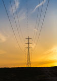 Power poles with wires Stock Photo