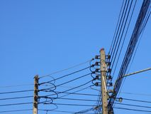 Power poles and wires. Two Power poles and wires royalty free stock images