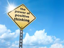 The power of Positive thinking sign. On blue sky background,3d rendered Royalty Free Stock Photo
