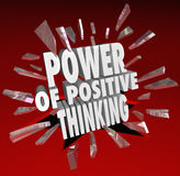 The Power of Positive Thinking Words 3D Saying Attitude Stock Photo