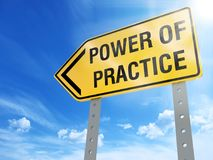 Power of practice sign. On blue sky background,3d rendered Royalty Free Stock Images