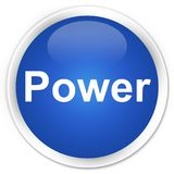 Power premium blue round button. Power isolated on premium blue round button abstract illustration Royalty Free Stock Images