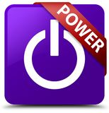 Power purple square button red ribbon in corner. Power isolated on purple square button with red ribbon in corner abstract illustration Royalty Free Stock Image