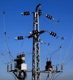 Power pylon. Deatail of a medium voltage power pylon stock photo