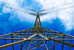 Power Pylon from below Royalty Free Stock Image