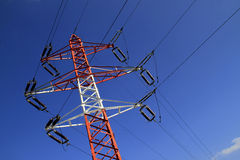 Power pylon - electricity. High voltage power pylon (electric pole) conducting electrical energy royalty free stock photos