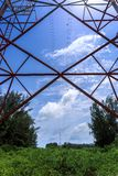 Power pylon. Super wide angle photograph of Electricity pylon with blue sky Stock Photography