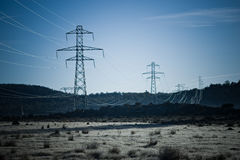 Power pylons stock image