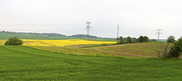 Power Pylons in the Field Royalty Free Stock Images
