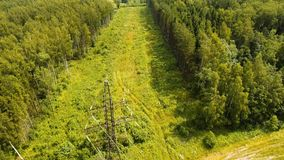 High voltage power line. Aerial view. stock video