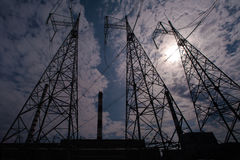 Power pylons. View of high voltage power pylons Royalty Free Stock Images