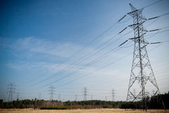 Power pylons and wires Stock Photo