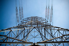Power pylons and wires Stock Photos