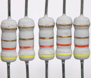 Power resistors. Some powerful power resistors on a light background Royalty Free Stock Photo
