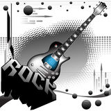 The power of rock music. Abstract colorful illustration with electric guitar, black bubbles, abstract arrows and the word rock written with huge letters. Rock Stock Image